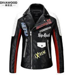 Wholesale Leather Jackets Lapels Men - 2017 Brand men Motorcycle jacket water washed leather jacket men clothing fashion skull plus size leather coat