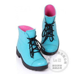 Wholesale Lace Up Rain Boots Women - Shoes Water Women Rain Biker Boots Outdoor Labor Wading Thick Soled Booties Glossy Lace Up High Top Fashion Jelly Round Toe