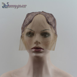 Wholesale U Sew - u part wig cap for making wig lace cap for sewing in hair u part glueless lace wig cap medium brown lace