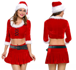 Wholesale Santa Claus Sexy - Adogirl Womans Christmas Dress Adult Sexy Ms. Santa Costume Red velvet fur Christmas Carnival Roleplay Sexy Winter Clothing