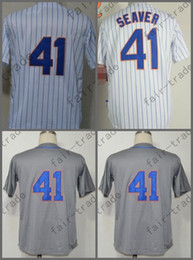 Wholesale Cool Hot - Hot Sale 2015 New York #41 Tom Seaver Jersey White Cool Base Stitched Authentic Baseball Jersey Embroidery Logo