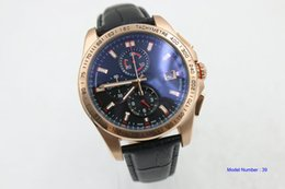 Wholesale Calibre 16 Sapphire - 2017 Top Brand Tag Mens Watch Calibre 16 Sapphire Glass Quartz Movement Chronograph Stopwatch Black Leather Strap Original Folding Clasp