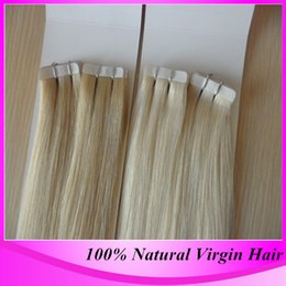 Wholesale Cheap Taped Hair Extensions - Free Shipping Cheap #60 Darkest Brown PU tape in Hair Extensions Remy 40 Pieces 100% Human Brazilian Straight