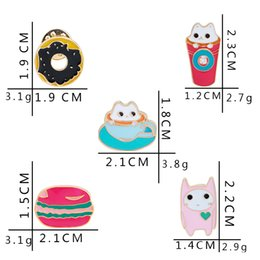 Wholesale Chrismas Pins - Enamel Cute Small Cups Cats Ice Cream Donuts Brooch Collar Brooch for Women Badges Fashion Jewelry Wholesale Collar Pin Chrismas Gift