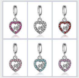 Wholesale Pandora Pink Heart Charms - Wholesale 30pcs Mother Day Pendants Charms Bead Silver Charms Pendant Big Hole Beads Fit European Charm Pandora Bracelet Jewelry DIY 6 Color