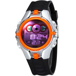 Wholesale Boys Lighting Watch - Boys Kids Children Digital Sport Watch Alarm Date Chronograph 7 Colors LED Back Light Waterproof Wristwatch Student Clock Drop Shipping