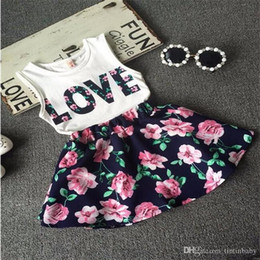 Wholesale Top Pretty Girl - Baby Girls Clothes LOVE Tops + Flower skirt 2pcs Pretty Flowered Cotton Kids Sets 2017 Summer Children Girl Clothing Set