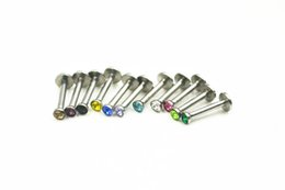 Wholesale Gem Monroe - LOT100pcs Surgical Steel Gems 16g~1.2mmx8 10mmx2.5mm Labret Stud Monroe Lip Tragus Ring Bar Bell Body Piercing Jewelry