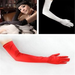 Wholesale Bridal Mittens - Wedding Gloves Long 54 cm Ladies Stretchy Satin Mittens Gloves Wedding Party Bridal Opera Gloves Different Colors for Choice DHL Free