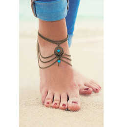 Wholesale Beach Water Sandals - 1 PC Vintage Brass Ankle Bracelet Foot Jewelry Hollow Turquoise Barefoot Sandals Anklets For Women Water Anklet Beach Jewelry