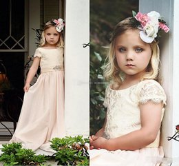 Wholesale Empire Waist Wedding Dresses Beaded - Cheap Flower Girl Dresses for Bohemia Vintage Wedding Jewel Neck with Short Sleeve Beaded Empire Waist 2017 Baby First Holy Communion Dress