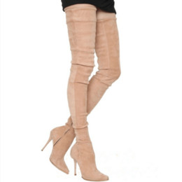 Wholesale black suede long boots - Womens Boots Suede Over The Knee Boots Women High Heel Slim Thigh High Boots black beige Grey Knee Long Boot Big Size 34-48