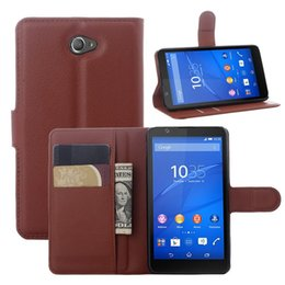 Wholesale Xperia E Leather - Luxury PU Leather Flip Phone Case For Sony Xperia E4 E 4 Case Magnetic Stand Wallet with Card Slot Cover For Sony E4 Bag