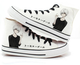 Wholesale Paint Shoes Black - Japan anime Tokyo Ghoul male female shoes print Kaneki Ken Canvas shoes hand-painted Harajuku cos lovers casual canvas shoes
