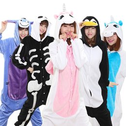 Wholesale Unicorn Pajamas For Adults - Wholesale- Warm Flannel pajamas for women Pajama Couples Cartoon Sleepwear Adult Animal Onsies Pijama Adulto Unicorn Panda Stitch Pijamas