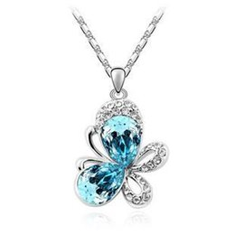 Wholesale Silver Jewelry Butterfly Pendant - Wholesale-New 2014 Crystal Pendants Animal Necklaces Butterfly Full Of Rhinestone Fashion Jewelry For Women Silver Plated