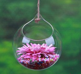 Wholesale Wholesale Glass Hanging Terrariums - 10Pcs Flowers Ball hangin glass planter vase air plants terrarium hanging glass vases for home decoration green plants wedding gifts 2017