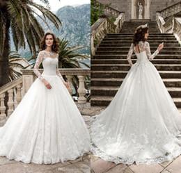 Wholesale Queen Photos - 2017 New Queen Vestios De Novia A-line Wedding Dresses Sheer Long Sleeves Lace Corset Back Vintage Bridal Gowns robe de mariage