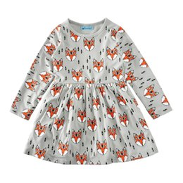 Wholesale Fox Dresses - Spring Autumn Ins Baby Girls Cartoon Fox Dress Kids Long Sleeve Casual Princess Dress Children Clothing
