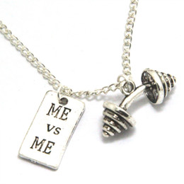 Wholesale Inspiration Days - 12pcs lot Motivational Necklace Barbell Jewelry Dumbbell Necklace Fitness Quote Inspiration Gym JEWELRY