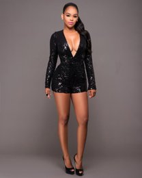 Wholesale Sequin Jumpsuits For Women - Sequins party events sexy ladies bodysuit long sleeve hollow out backless mini jumpsuit for women free shipping