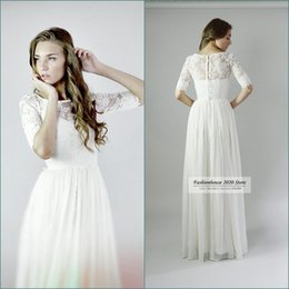 Wholesale Sage Chiffon Wholesale Dress - Sexy Long White Chiffon Country Bridesmaid Dresses With Sleeves Scoop Neck Applique Lace Wedding Party Dress Beach Maid of Honor Gowns