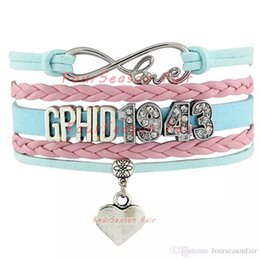 Wholesale Delta Phi - Custom-Infinity Love GPhiD 1943 Heart Charm Bracelet Gamma Phi Delta Sorority Wrap Braided Leather Adjustable Bracelet Bangles-Drop Shipping