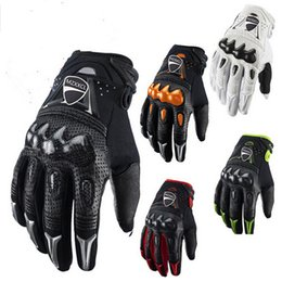 Wholesale Mens Black Leather Gloves - Band 2017 Leather Bomber Carbon Fiber Motorcycle Mens Gloves Off Road Motorbike Bicycle Cycling Gloves