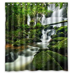 """Wholesale Shower Curtains Clear - Clear Waters Cool Waterfall With Green Stone Shower Curtain 66""""x72"""" New Waterproof Polyester Fabric - Scenery Theme Shower Curtain"""