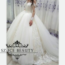 Wholesale Over Sized Long Sleeves - Over Skirts Tulle Long Sleeves Wedding Dresses Sheer Off Shoulder Puffy Ball Gown Bridal Exquisite Appliques 2017 Vestido De Noiva