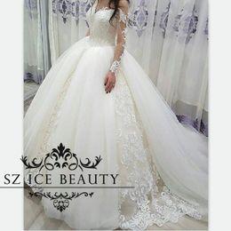 Wholesale Exquisite Wedding Dress Off Shoulder - Over Skirts Tulle Long Sleeves Wedding Dresses Sheer Off Shoulder Puffy Ball Gown Bridal Exquisite Appliques 2017 Vestido De Noiva