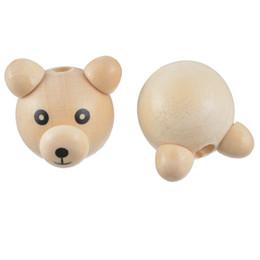 Wholesale Bead Craft Ball - FUNIQUE Cute 3D Bear Beads Wooden Cartoon Pig Nose Ball Wood Beads DIY Pacifier Clip & Jewelry Making Craft Kids Beads 5PCs