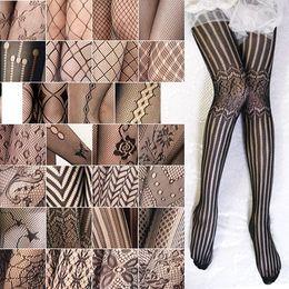 Wholesale nylons pantyhose - Wholesale-2X Fashion Sexy Jacquard Stockings Black Fishnet Pattern Pantyhose Tights Women Sexy Pantyhose Spring Nylon Tights