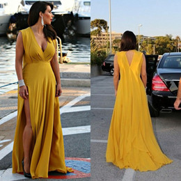 Wholesale Out Side Lights - Stunning Plus Size Prom Dresses Sexy Deep V Neck Sleeveless Cut Out Open Back Evening Gowns with Sweep Train Custom Made