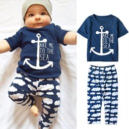 Wholesale Wholesale Baby Clothings - 2016 Ins Boys Navy Series 2PCS Summer Sets Baby Boys Navy Letters Tops+Clouds Pants Kids Clothings Sets