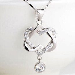 Wholesale Sell Girlfriend - Hot selling Silver Plated Women Double Heart Pendant Necklace Chain Jewelry for mon girlfriend gift free shipping