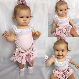 Wholesale Cute Korean Baby Clothes - Summer Baby Clothes Sweet Set Children Kids Girls Lace Collar Tops Floral Bowknot Shorts Culottes 2pcs Suit Pink Tank Top Korean Top Outfits