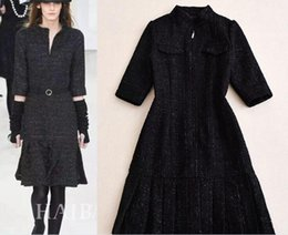 Wholesale Pinch Pleats - 2016 Europe and the United States fall and winter star with the new section of the fashionable round neck down hem pinched woolen dress