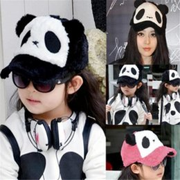 Wholesale Panda Snapback Hat - Cute Casual Baseball Cap Women Plush Cartoon Panda Snapback Fitted Hats Winter Warm Caps Outdoor Travel Sports Hats Valentine Gift DHL Free