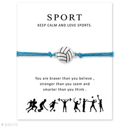 Wholesale Unisex Friendship Bracelets - (10 pcs lot)Silver Volleyball Charm Bracelets & Bangles for Women Girls Adjustable Friendship Statement Jewelry with Card