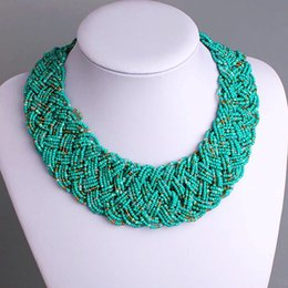 Wholesale Strand Chains Leather Necklace - Pure Handmade Multi-strand Seed Bead Gothic Choker Bib Chunky Beaded Necklaces For Women SBN-001