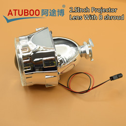 "Wholesale H7 Mini - 2.5"" Mini H1 Hid BI-xenon Projector Lens With Shroud And Angel Eye Cover For H4 H7 Car Headlight Used H1 Xenon Bulb"