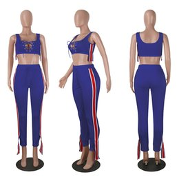 Wholesale Two Piece Jogging Suits - Sportswear Tracksuit for Women Jogging Costumes 2017 Fashion Summer Female Suits Sleeveless Striped Crop Top and Pant Two Piece Set