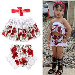 Wholesale Lace Tank Tops Toddler - New HOT Baby Infant Outfits Girls Sets Toddler Rose Flowers Tank Tee Tops + Lace Edge Brief Shorts + Bow Headband 3pcs Set Suits A7003