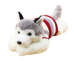 Wholesale Mouse Children Sweater - 1pcs size 40 cm Cartoon gray sweater husky dog plush toy child cloth doll Large pillow cushion child Christmas birthday gift