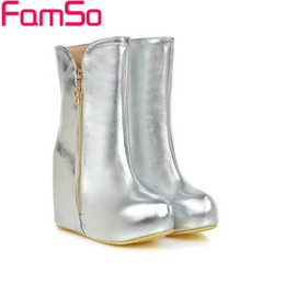 Wholesale Sexy Wedged Heels - Wholesale-Size34-43 2016 Sexy Women Boots Autumn High Heels Boots Gold Silver Wedges Pumps Winter Waterproof Motorcycle Boots SBT2548