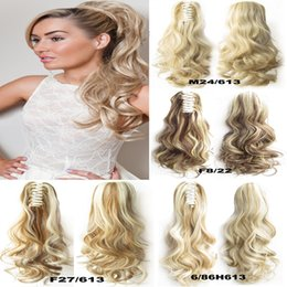 Wholesale Wavy Long Blonde Extensions - Wholesale-1PC 22inch 170gSynthetic Long Curly Wavy Claw Drawstring Clip False Ponytail natural Hair Extension Fake Tress Hairpieces