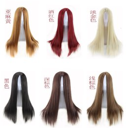 Wholesale Light Brown Lolita Wig - Synthetic Heat Resistant Fiber Halloween Wig Anime Cosplay Long Straight Hair Lolita Wigs 6 Color Wig 24#