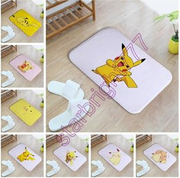 Wholesale Carpet Door Mats Wholesale - 2017 cartoon Door mat 40*60cm pikachu Bedroom Carpet Super Soft Mats poke Floor Door Rugs 20 styles