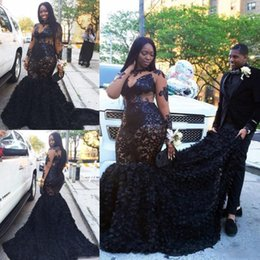 Wholesale Lace See Through Prom Dresses - Black Plus Size Prom Dresses Sheer Long Sleeves Lace Appliques Mermaid Evening Gowns See Through Sweep Train South African Women Party Dress